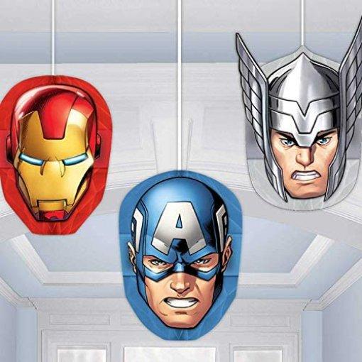 3 Cabeças Decorativa em Favo de Mel Avengers