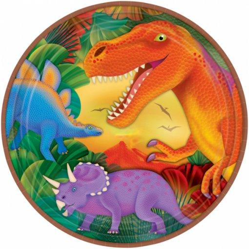 8 Pratos Dinossauros 23cm