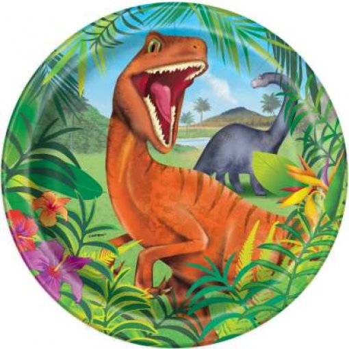 8 Pratos Dinossauros 22cm