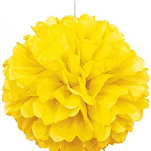 Pom Pom Decorativo Amarelo 40cm 2 unidades