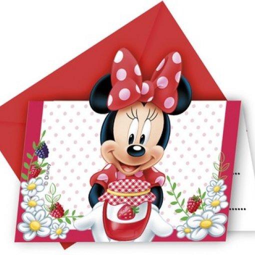 6 Convites Minnie Vermelha com Envelopes