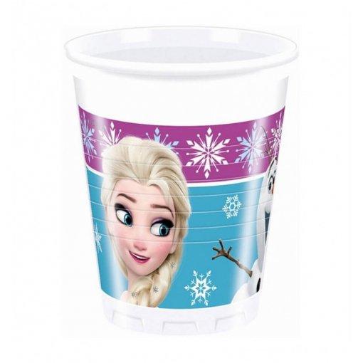 8 Copos de Plástico Frozen 200ml