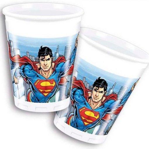 8 Copos em Plástico Super Man 200ml