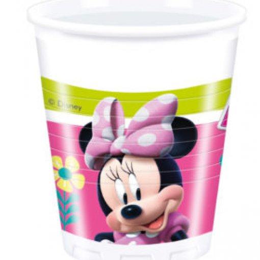 8 Copos de Plástico Minnie Rosa 200ml