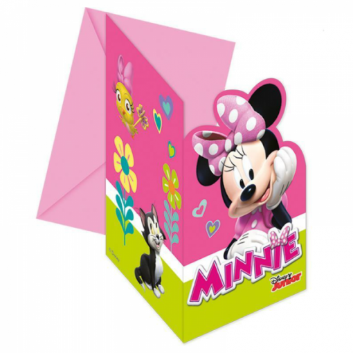 6 Convites com Envelopes Minnie Rosa