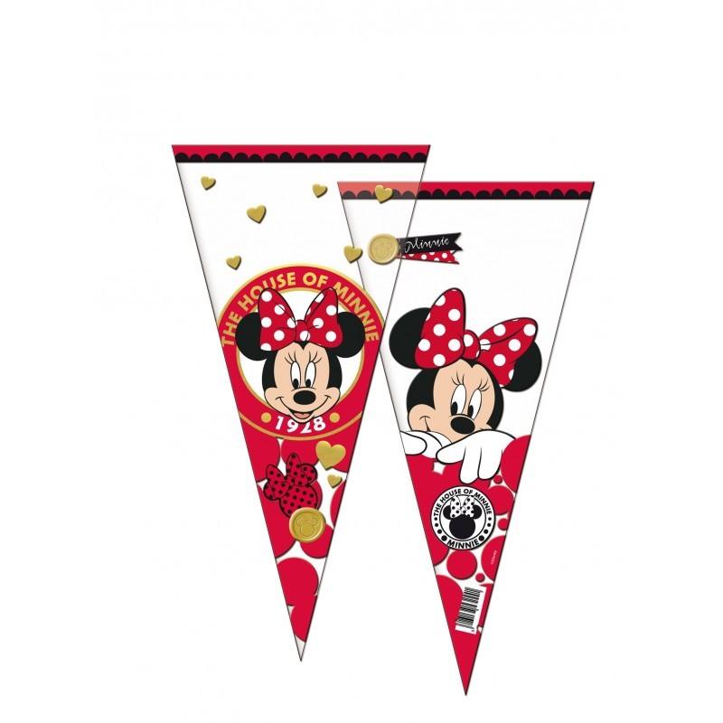6 Sacos Triangular Minnie Vermelha
