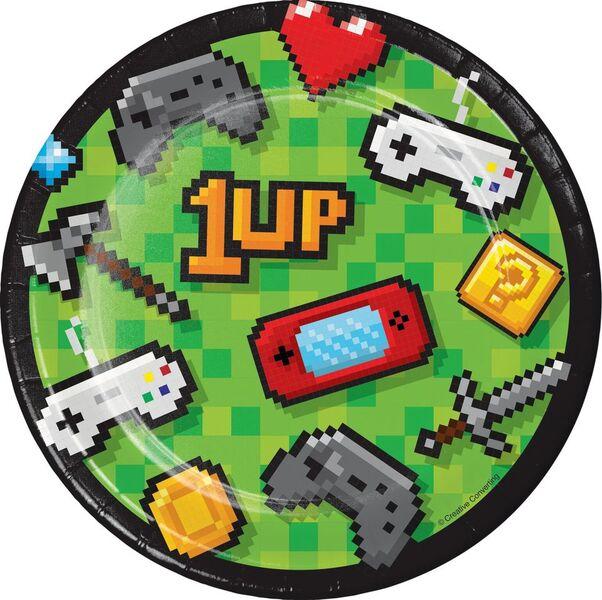 Pratos Descartáveis Video Game 8 unidades