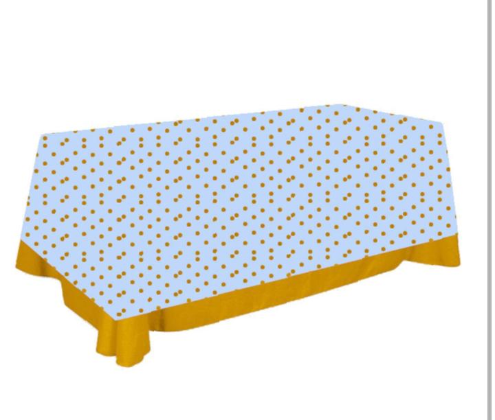 Toalha de Mesa de Algodão Azul e Dourada 137cm x 274cm