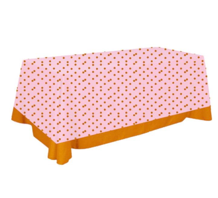 Toalha de Mesa de Algodão Rosa e Dourada 137cm x 274cm