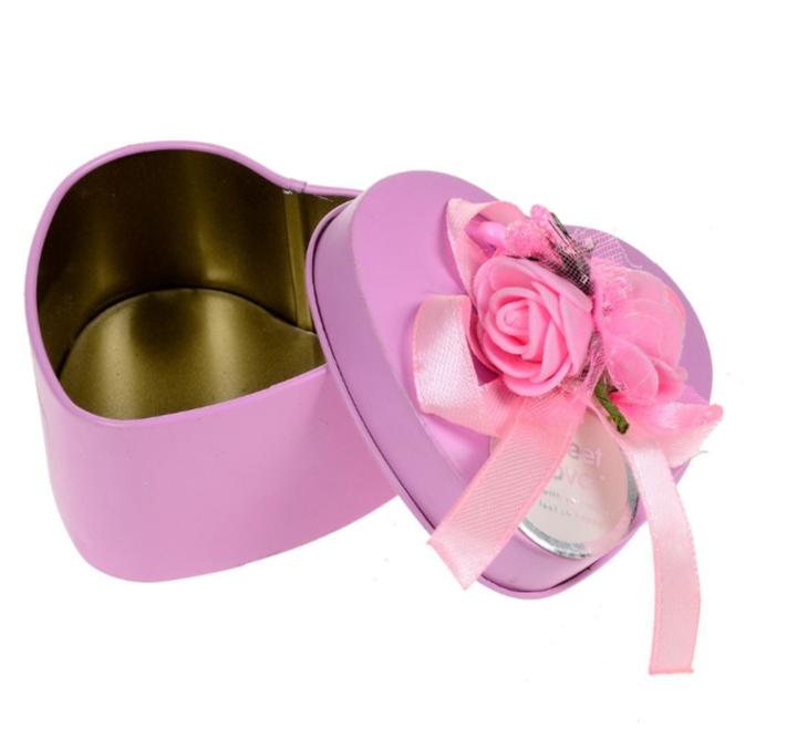 Caixinha Metálica de Coração Decorativa Rosa