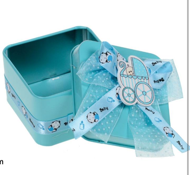 Caixinha Metálica Quadrada Decorativa Azul
