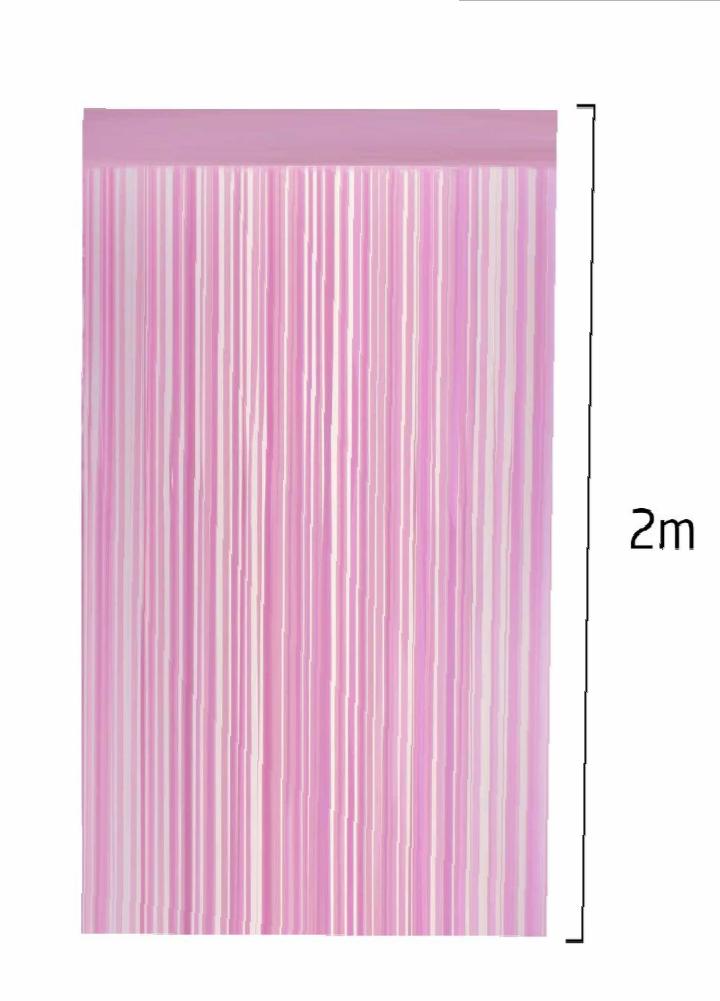 Cortina Decorativa Rosa Claro 100cm x 200cm