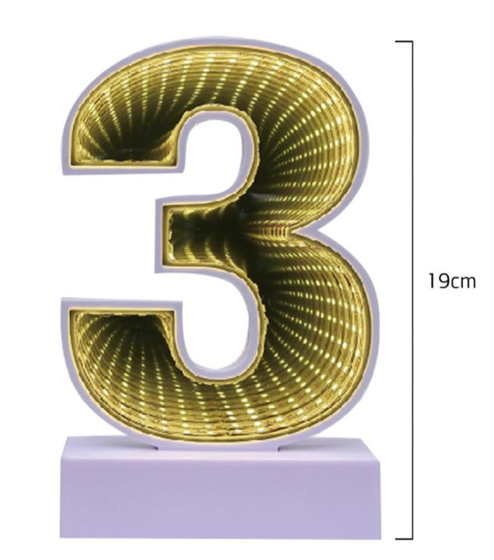 Número 3 Decorativo em Led