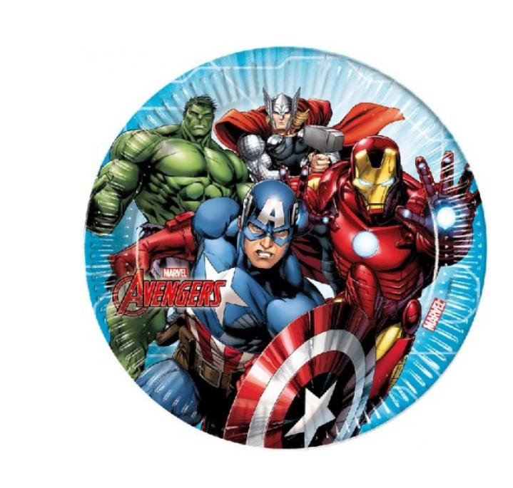 8 Pratos Avengers 23cm