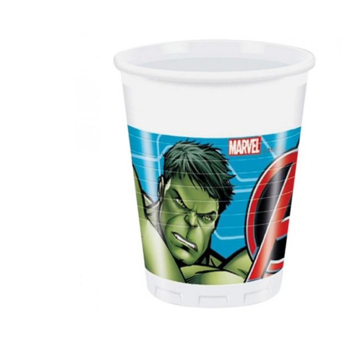 8 Copos Plástico Avengers 200ml