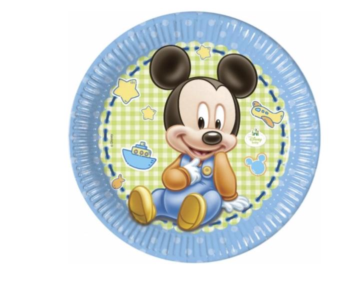 8 Pratos Mickey Baby 23cm