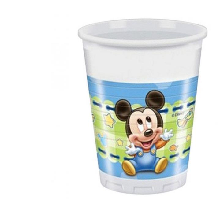 8 Copos de Plástico Mickey Baby 200ml
