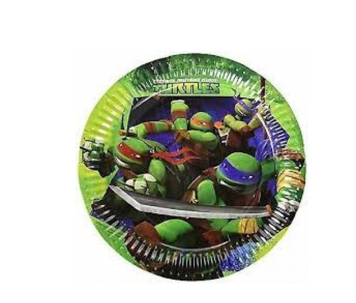 8 Pratos Tartarugas Ninja 23cm