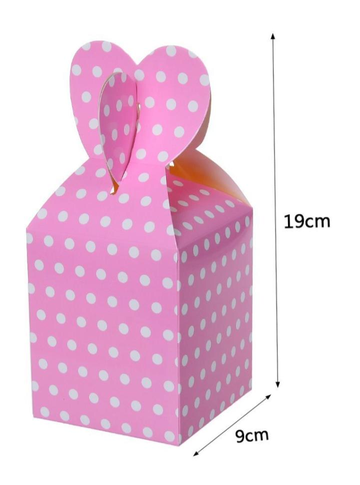 Caixa Box Rosa com Bolinhas para Doces 6 unidades