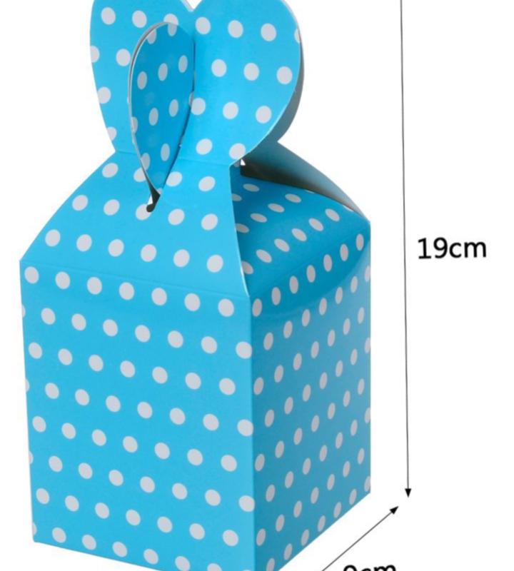 Caixa Box Azul com Bolinhas para Doces 6 unidades