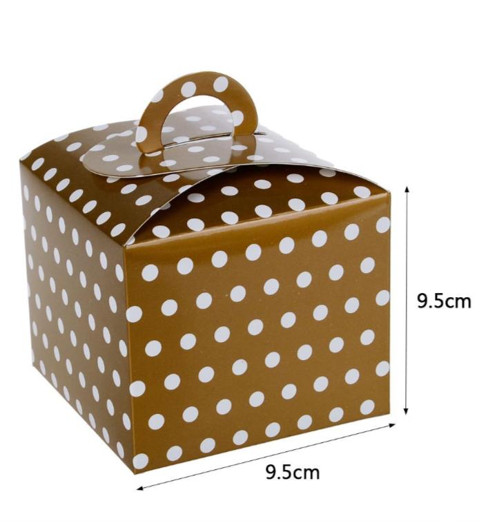 Caixa Box Dourada com Bolinhas para Doces 6 unidades