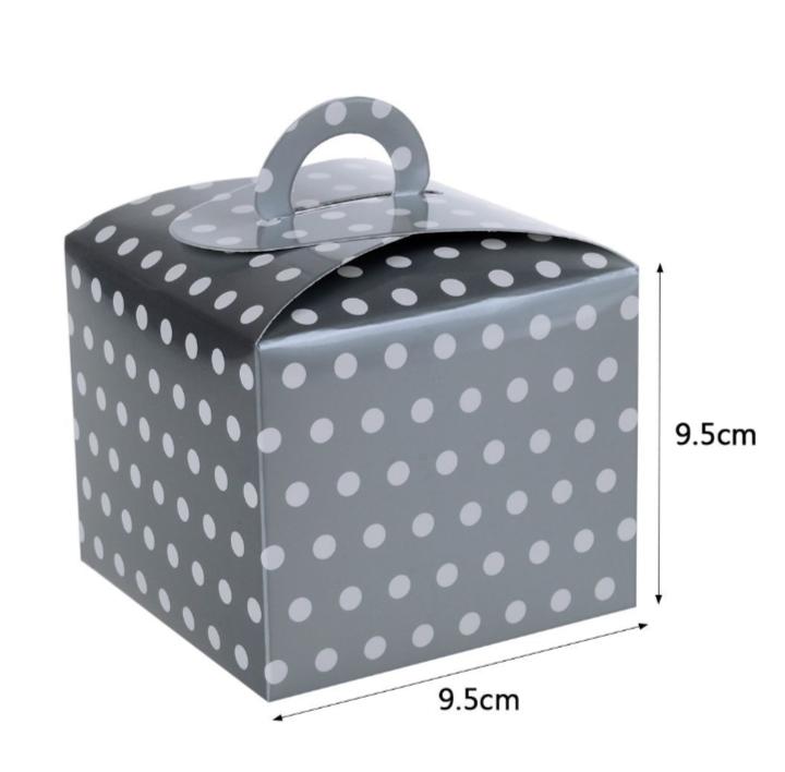 Caixa Box Prata com Bolinhas para Doces 6 unidades