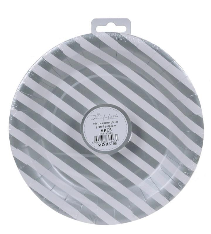 6 Pratos Prata de Listas 23 cm