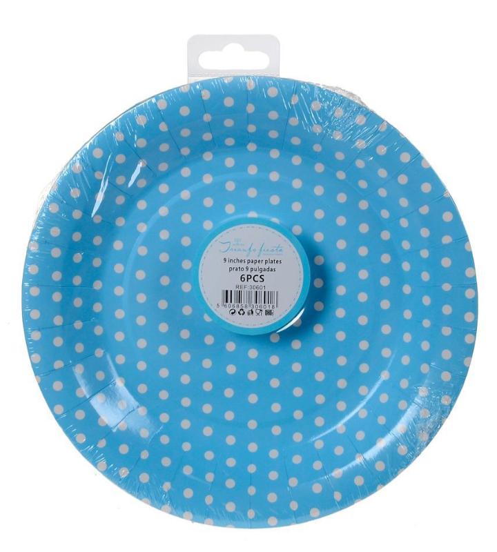 6 Pratos Azul de Bolinhas 18 cm