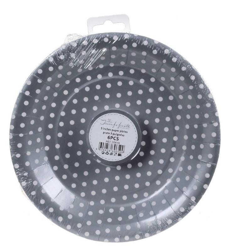 6 Pratos Prata de Bolinhas 18 cm
